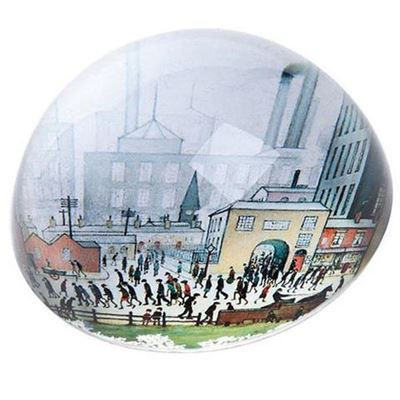 L. S. Lowry 'Coming from the Mill' (1930) dome paperweight