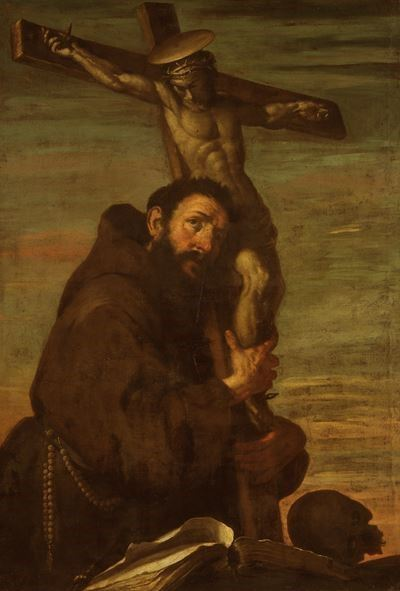 Saint Francis of Assisi Embracing a Crucifix